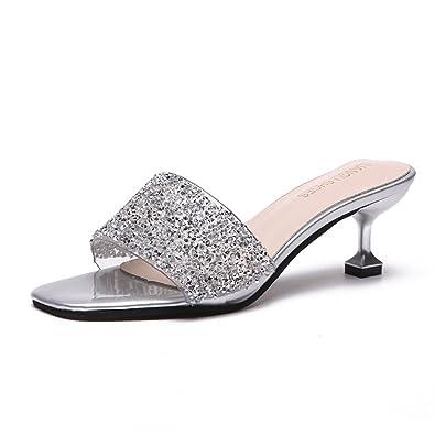 18094584a81ba Mules pour Femmes Talons Aiguilles Slip-on Tongs Été Bout Carré Ouvert  Paillettes Élégant Sandale  Amazon.fr  Chaussures et Sacs