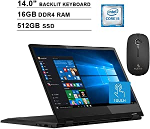2020 Lenovo Flex 14 Inch FHD 1080P Touchscreen 2-in-1 Laptop| Intel Core i5-8265U up to 3.9GHz| 16GB RAM| 512GB SSD| MX230 2GB| Backlit KB| FP Reader| Win10 + NexiGo Wireless Mouse Bundle