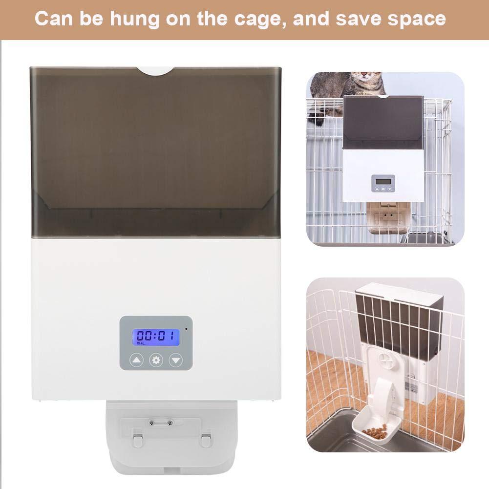 Alimentatore Dispenser Automatico per Animali Domestici per Cani e Gatti con Timer pu/ò Essere Appeso alla Gabbia ABS Distributore Automatico di Cibo