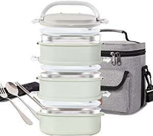 Lunch Box Stainless Steel Food Containers 3 Stackable Square Bento Box with Insulated Lunch Bag Spoon and Fork Set for School Office Or Picnic (Nordic Green)