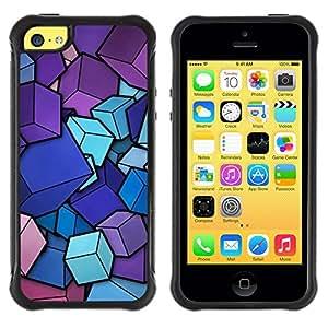 Fuerte Suave TPU GEL Caso Carcasa de Protección Funda para Apple Iphone 5C / Business Style Pink Purple Blue Cubes Pattern