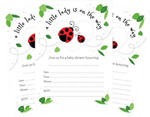 A Little Lady is on The Way 5x7 Ladybug Baby Shower Invitations - 24 invites and 24 White envelopes
