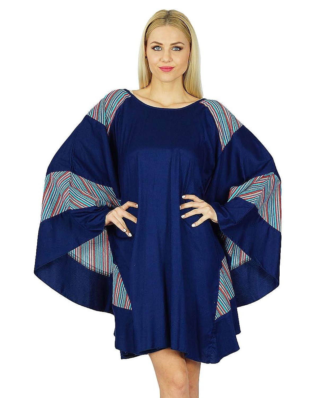 Bimba Frauen Rayon Kurz Poncho Kleid-Schmetterlings-Kaftan Klassische Boho Kleidung
