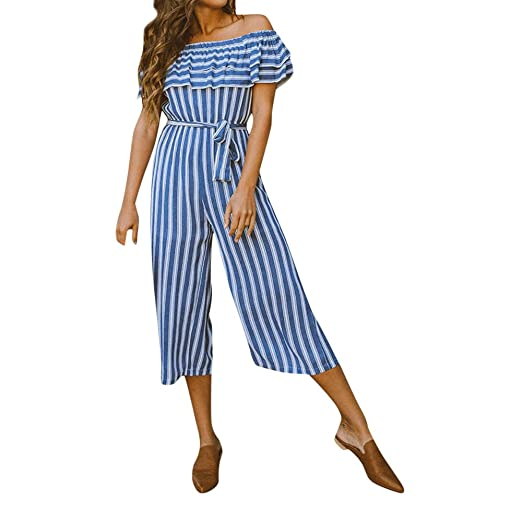 d5b9ee193d83 Amazon.com  Corriee Jumpsuit for Women Elegant Off The Shoulder Stripe  Belted Playsuits  Clothing