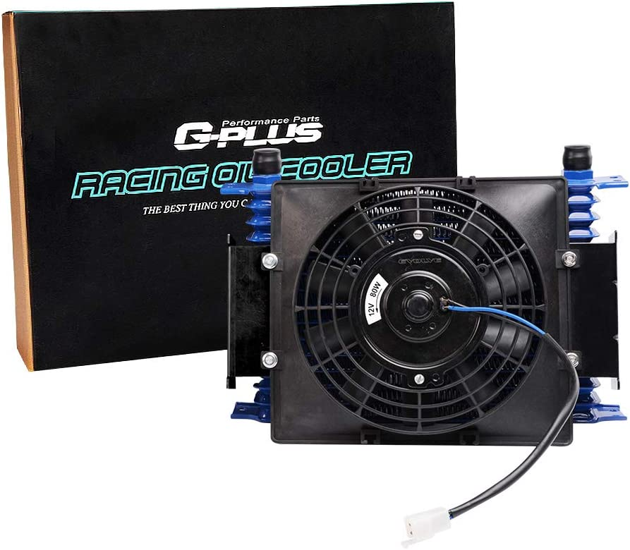 Universal 15 ROW AN10 Aluminum Engine Transmission Oil Cooler Kit 7 Fixed Engine Cooling Fan