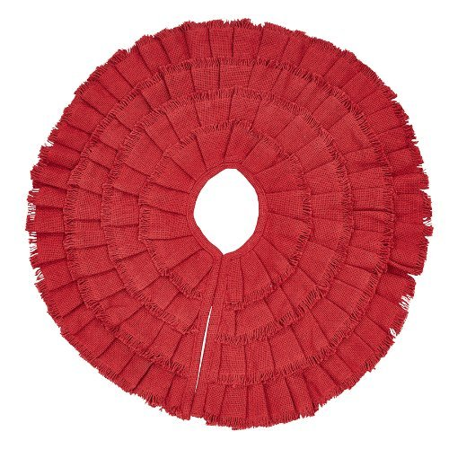 Red Burlap Ruffled Mini Xmas Tree Skirt 21''