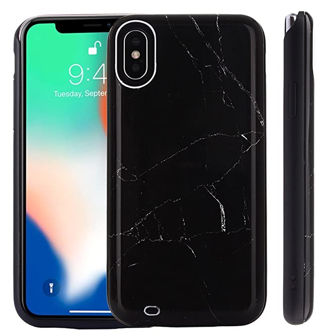 new concept 9e2d6 d65ec Kiker Mobile, Fashion Smart Battery Case for iPhone X, Ultra-Slim Full  Protection, Marble Back, Ring Stand (Marble - Black (4500mAh))