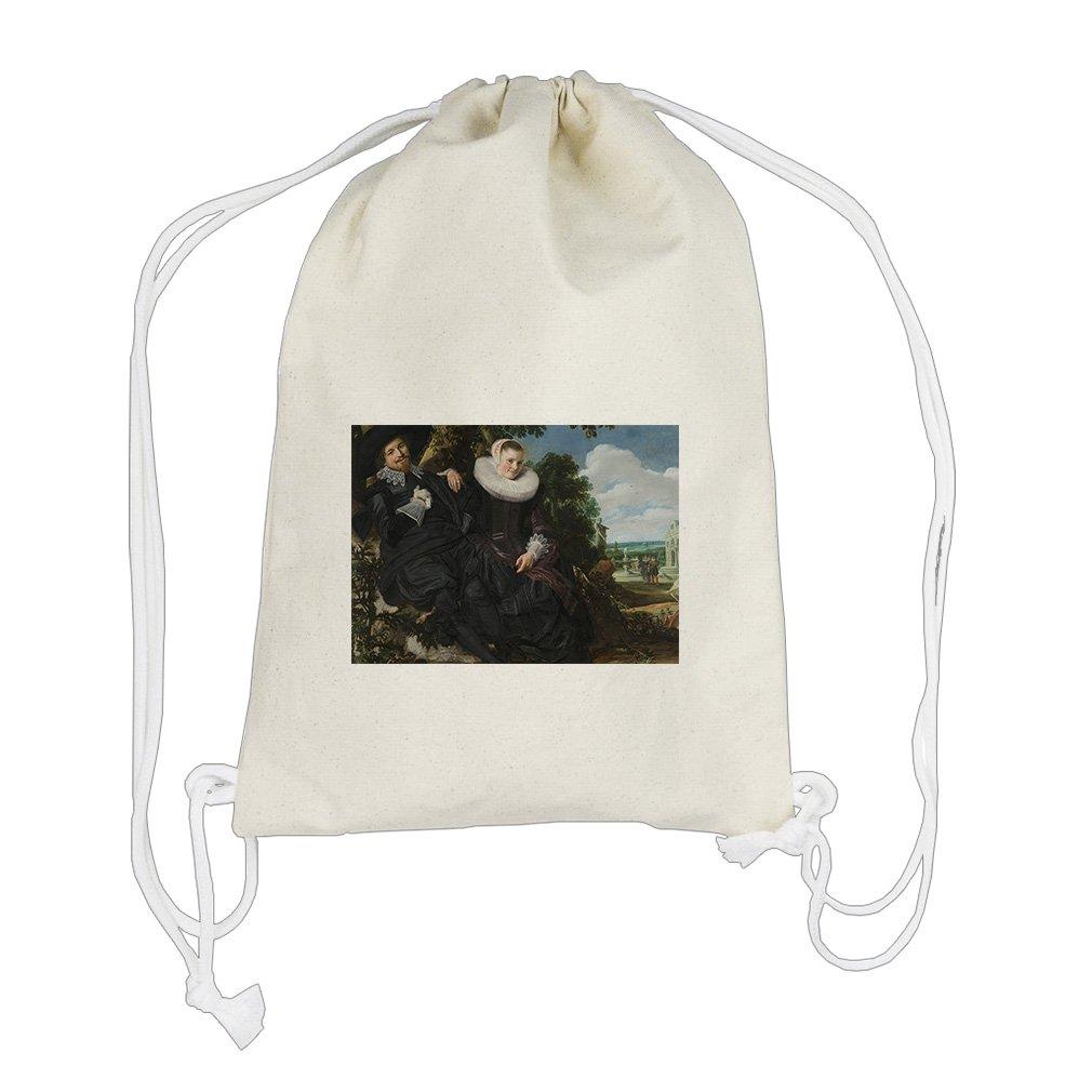Wedding Portrait (Frans Hals) Cotton Canvas Backpack Drawstring Bag Sack
