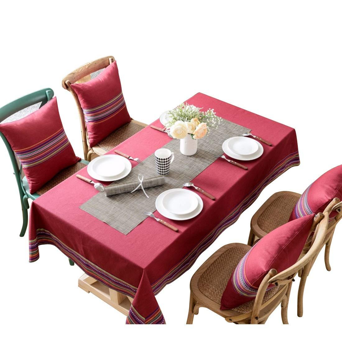 JPAKIOS コットンテーブルクロス、1パックシンプルな長方形テーブルディナー用テーブルカバークリップ (Color : レッド, サイズ : 200*140) 200*140 レッド B07Q285544