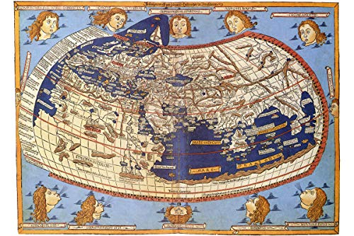 - World Map According to Ptolemy; Antique Map; Historical Cartography