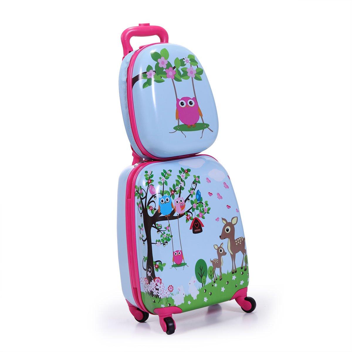 LAZYMOON Kids Carry On Luggage Set 2Pc 12'' 16'' Upright Hard Side Hard Shell Suitcase