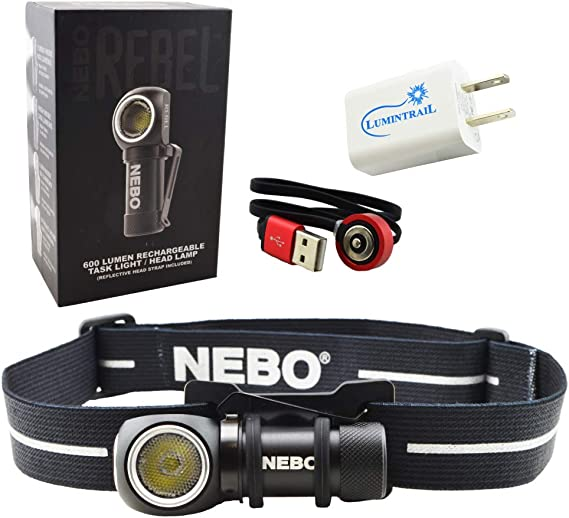 NEBO Rebel 600 Lumen Rechargeable Head Light Tactical Headlamp Bundle with a Lumintrail USB Wall Adapter
