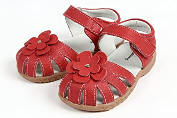 0ae82e39c6a8d 【Dream Studio】Girls Genuine Leather Solid Flower Sandals (7 M US Toddler,  Red)