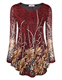 Jubby Babydoll Tops For Women, Ladies Paisley Floral Mixed Print Maternity Flower Bohemian Loose Fit Love Shirt Trendy Round Neck Flowy Tunic Peasant Blouse Top Medium Red_1