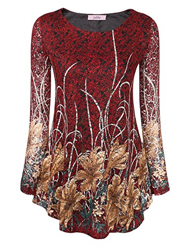 Flower Lace Leggings - BaiShengGT Ladies Lace Pleated Top, Sexy Fashion Sheer Long Sleeve Round Neckline Blouse Tops Autumn Tops Shirt L Red Floral 2