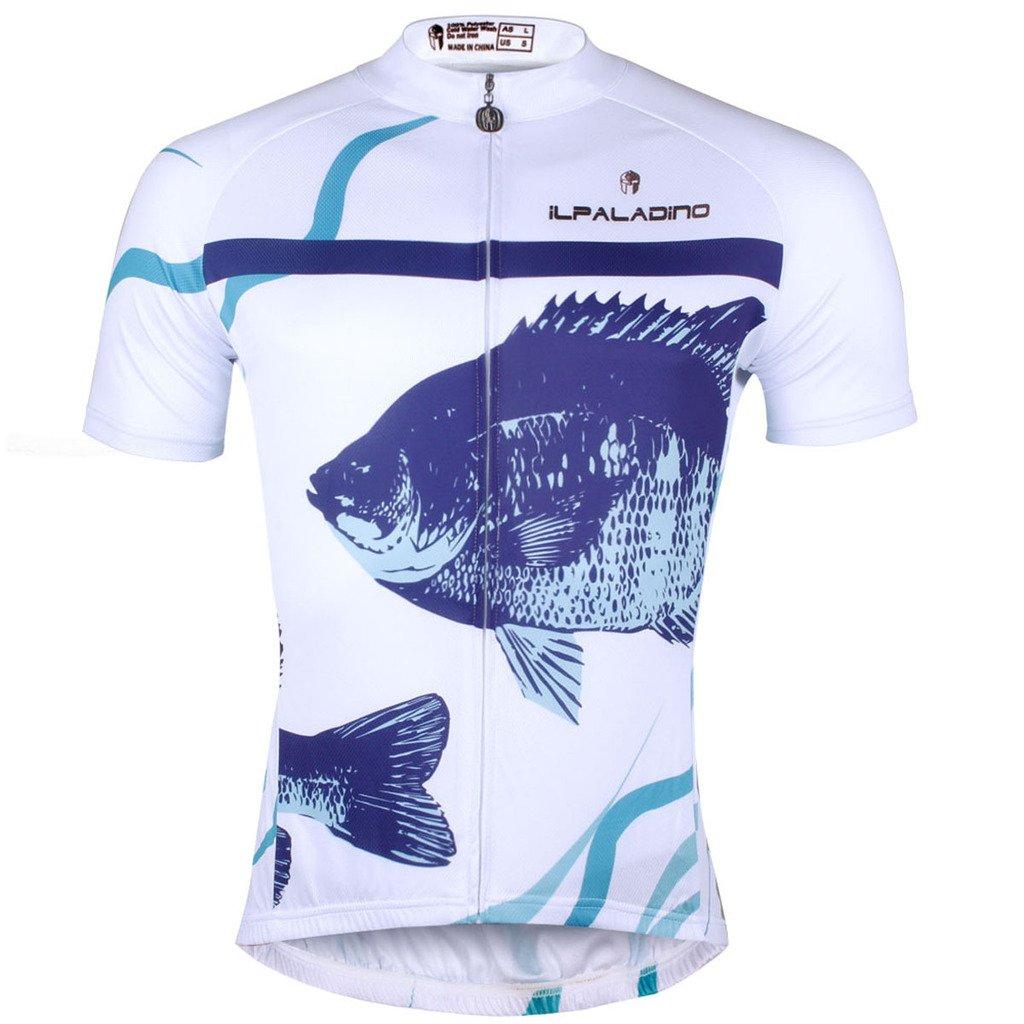 ilpaldino魚パターンメンズホワイト半袖ポリエステルクイックドライバイクアパレル B075XSGW4W  744-Short Sleeve 6L