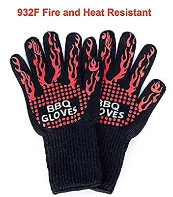 932F Cut & Heat Resistant BBQ Grill Gloves, Cooking Gloves for Oven Mitts, Cooking, Baking, Smoking & Potholder, 100% Cotton Lining, Stripes for Ultimate Grip,Silicone Insulated Protection by Brightown