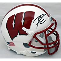 $249 » Russell Wilson Autographed Schutt Wisconsin Badgers White Mini Helmet In Black RW Holo
