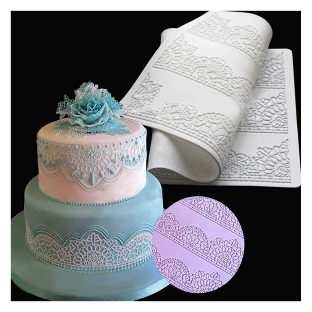 Cake Stencils, DIY Lace Flower Embossed Fondant Mould Cake Decorating Mold,3Pcs