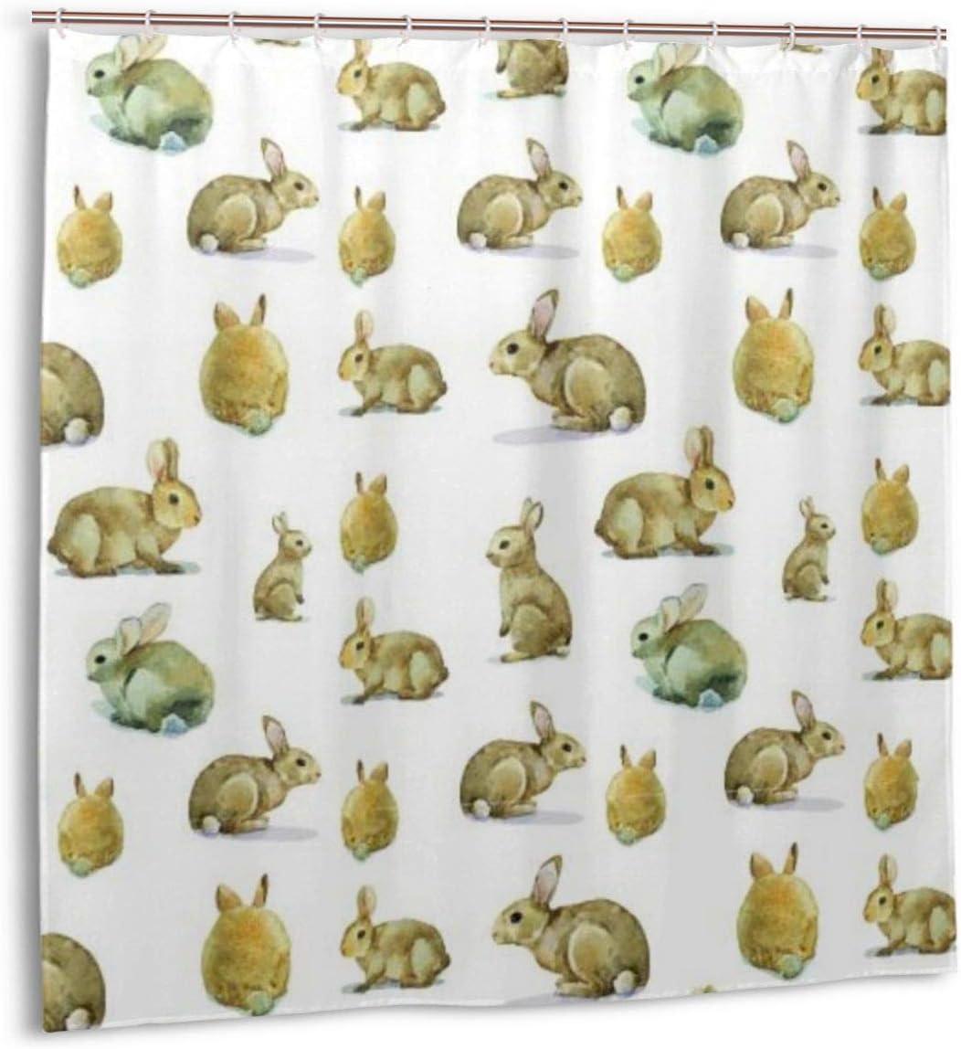 Cortina de Ducha, Lindo patrón de Conejito de Conejo Peludo Animales de Pascua Cortinas de baño para Mascotas domésticas mullidas con Ganchos 72 x 72 Pulgadas