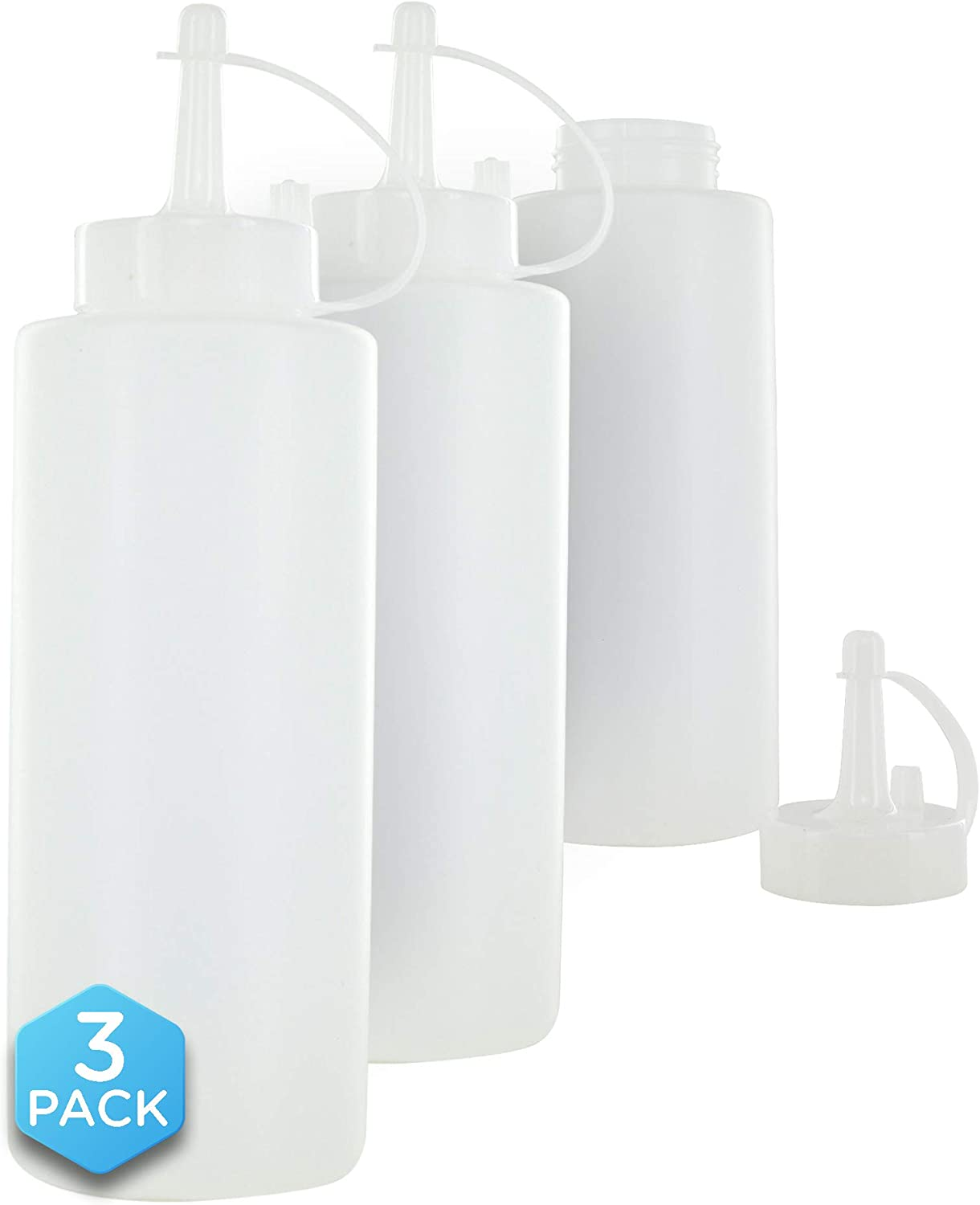 Ram Pro Plastic Squeeze Bottles with Caps 12 OZ, Kitchen Squeeze Spray Bottle Sauce Dispenser Perfect for Ketchup, Mayonnaise, Condiments, Oils and Liquids (Pack of 3)