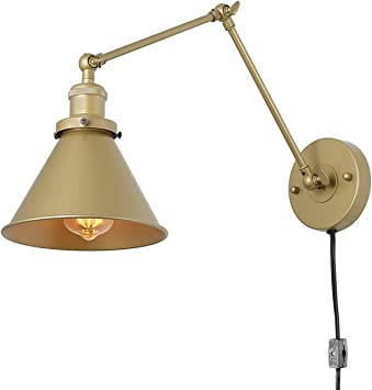Lnc Swing Arm Wall Sconce Lighting Adjustable Gold Plug In Lamp 1 Pack Amazon Com