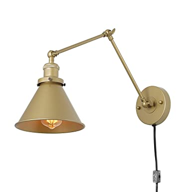 Lnc Swing Arm Wall Lamp Adjustable Wall Sconces Plug In Sconces Wall Lighting (Champagne Gold) by Lnc