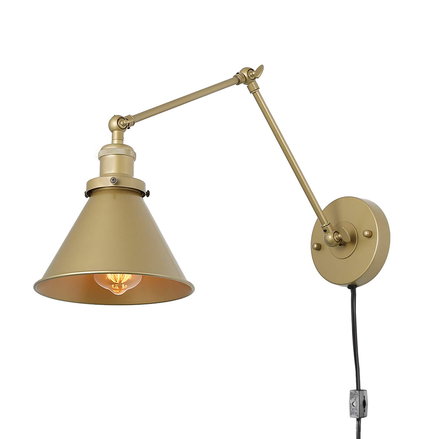 LNC Swing Arm Wall Lamp Adjustable Wall Sconces Plug-in Sconces Wall Lighting (Champagne Gold)