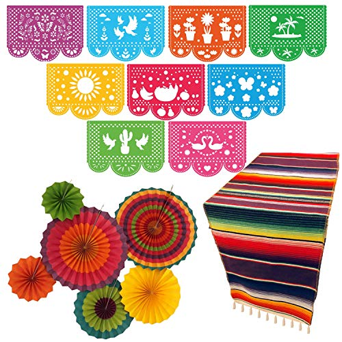 Fiesta Party Supplies | Mexican Party Decorations Theme | Décor for Wedding, Birthday, Cinco De Mayo, Coco, Taco, etc. | Large Papel Picado Banner | Serape Table Runner | Colorful -