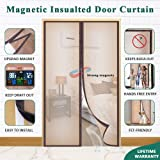 Mkicesky Upgrade Magnetic Insulated Door Curtain, Fits Doors up to 34 x 82 Inch, EVA Doorway Cover to Keep Draft Out in Winter, Kids Pets Walk Thro with Hands Free with Full Frame Hook&Loop - Brown
