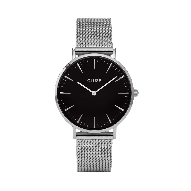 CLUSE La Boh me Mesh Silver Black CL18106 Women s Watch 38mm Stainless Steel Strap Minimalistic Design Casual Dress Japanese Quartz Elegant Timepiece