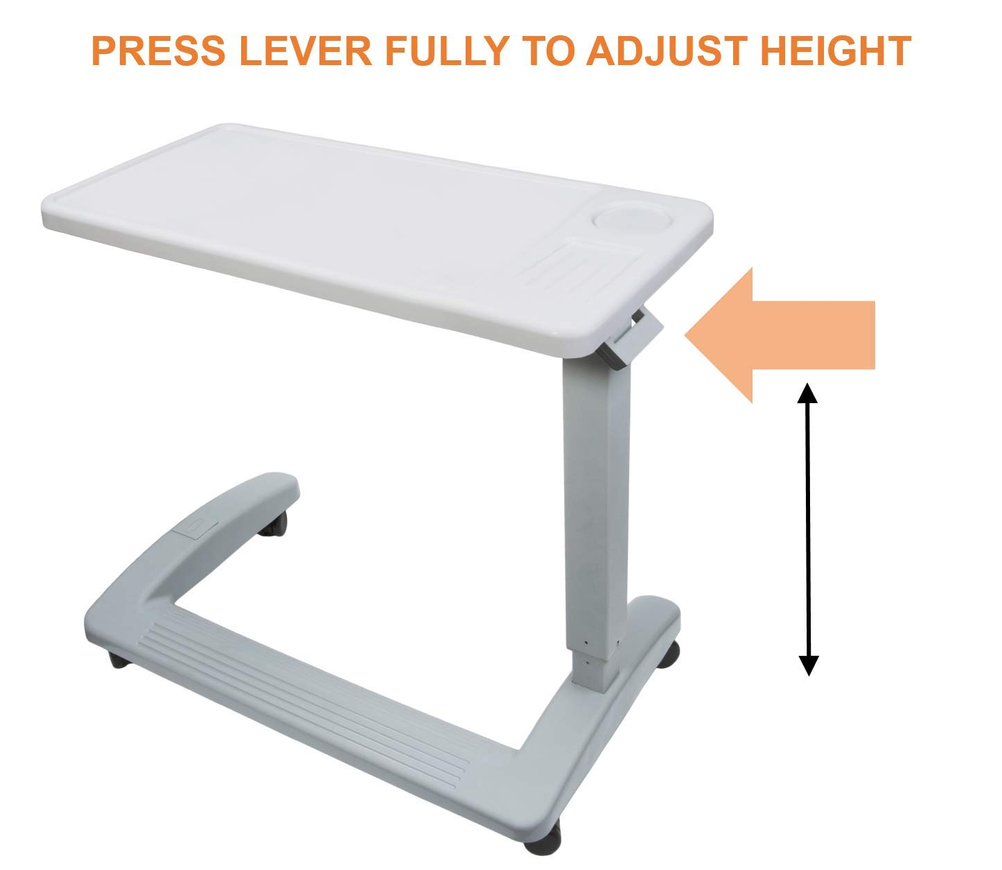 Vaunn Medical Deluxe Adjustable Overbed Bedside Table with Wheels (Hospital and Home Use) by Vaunn (Image #8)