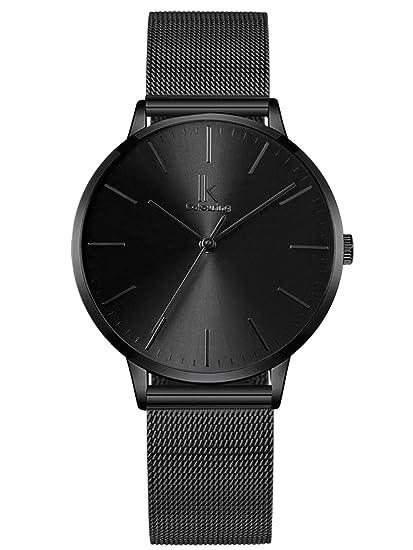 Alienwork Reloj Mujer Relojes Acero Inoxidable Negro Analógicos Cuarzo Impermeable Ultra-Delgada
