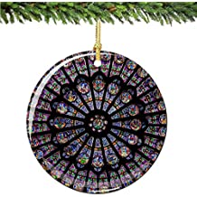 """Rose Window Christmas Ornament, Porcelain 2.75"""" Double Sided Notre Dame Cathedral Paris Christmas Ornaments"""
