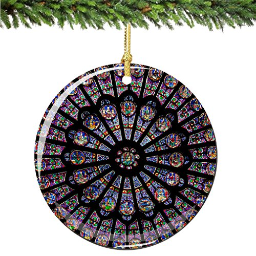 City-Souvenirs Rose Window Christmas Ornament, Porcelain 2.75