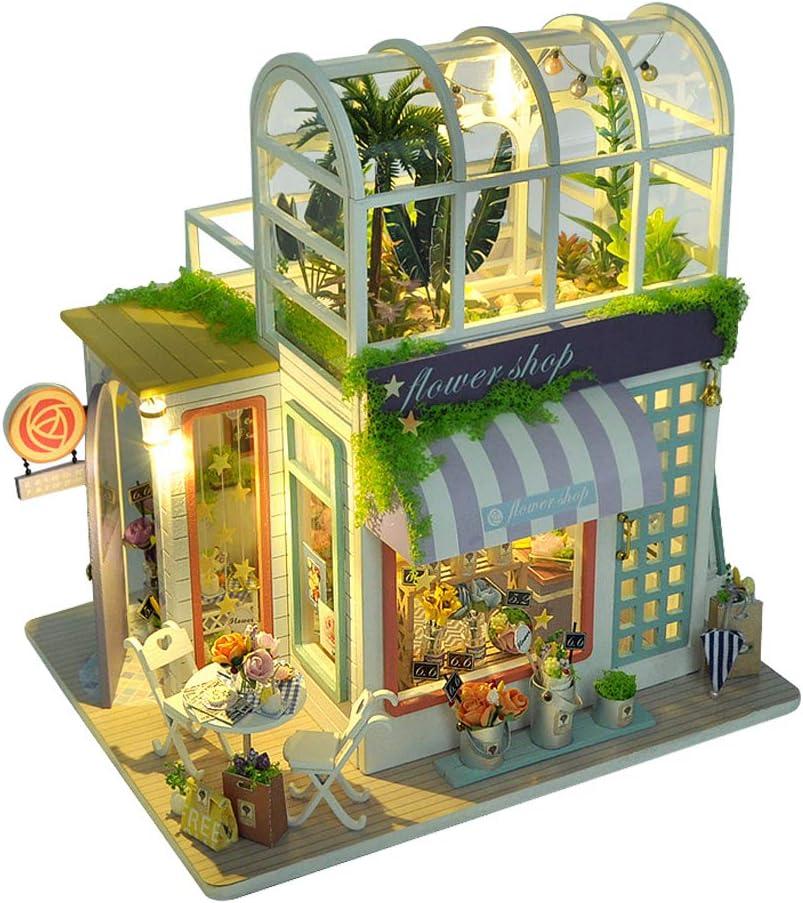 ZQWE DIY 2 Layer Glass Flower Room Green House Handmade Dollhouse Kit Wooden Miniature Doll House Garden House Shop Model with LED Lights Christmas Creative Gift