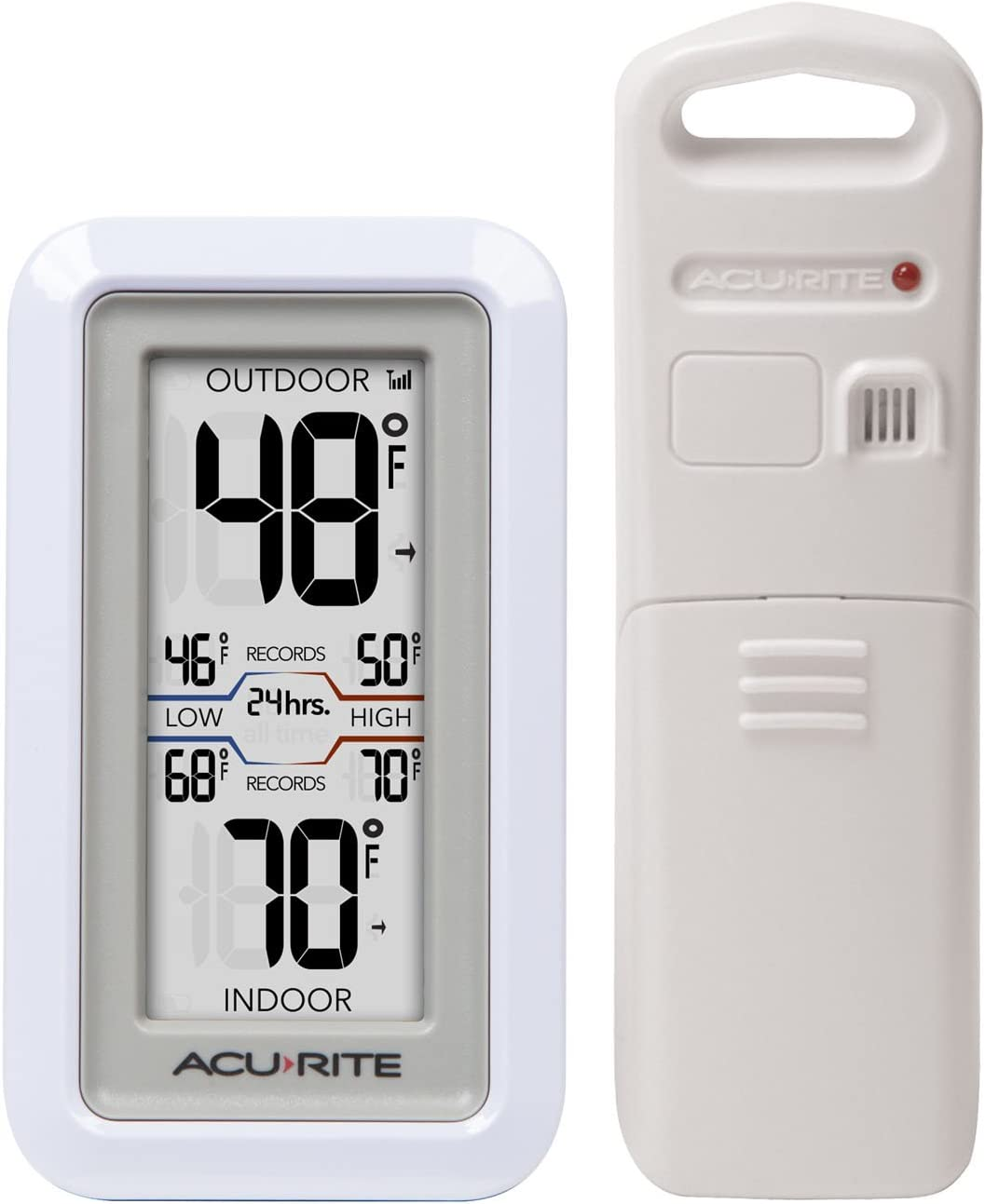 Amazon Com Acurite 02049 Digital Thermometer With Indoor Outdoor Temperature White Home Kitchen