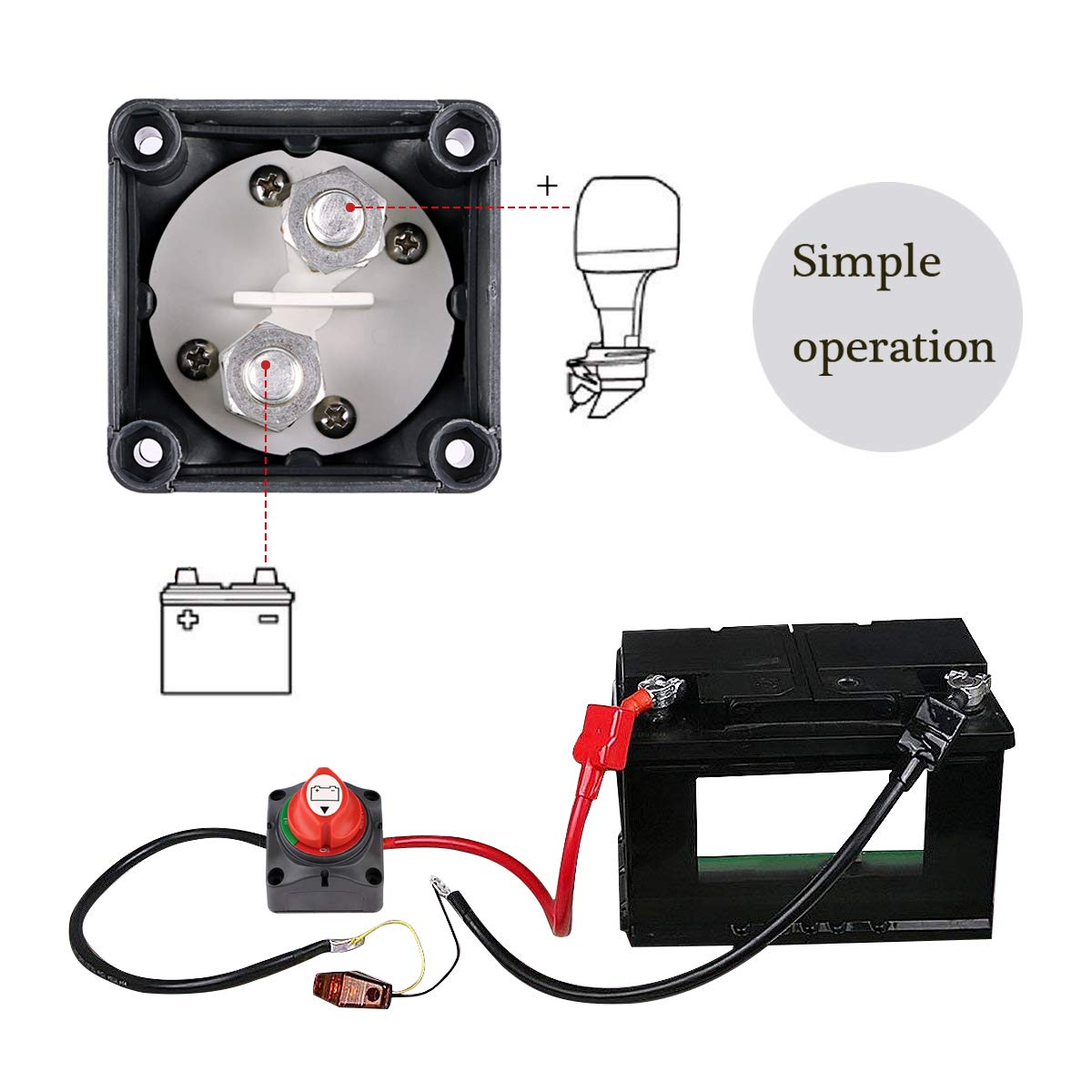 Sdootauto 12V//24V Waterproof Battery Isolator Switch Master Isolator Heavy Duty Battery Disconnect Power Cut Off Switch for Marine Boat Car RV Vehicle RV Battery Disconnect Switch