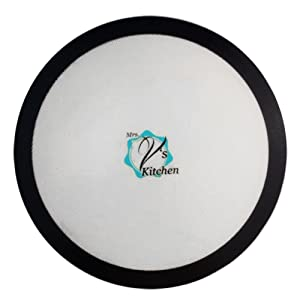 Round 15 Inch Non-Stick Silicone Baking Mat for Pizza Pans Made by Mrs. V's Kitchen