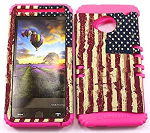 SHOCKPROOF HYBRID CELL PHONE COVER PROTECTOR FACEPLATE HARD CASE AND HOT PINK SKIN WITH STYLUS PEN. KOOL KASE ROCKER FOR HTC ONE M7 USA FLAG MA-TE529