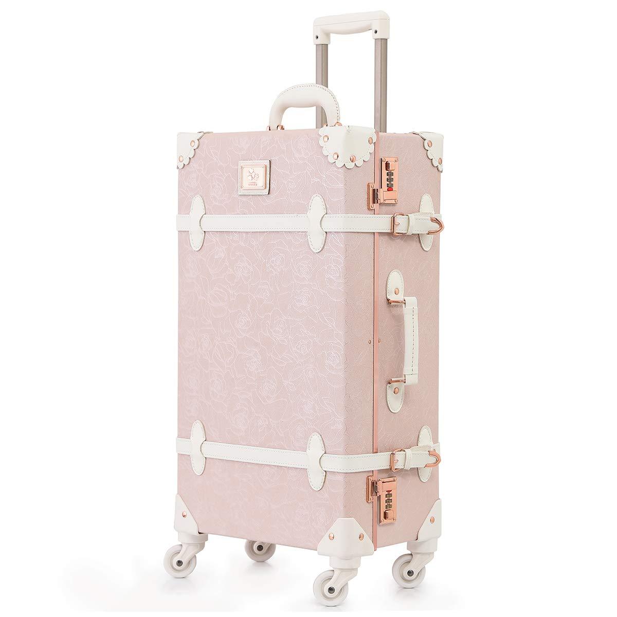 可愛い スーツケース クラシック トランク トランクケース ピンク 機内持込 キャリーケース かわいい 子供 女の子 L(26)型 優雅な粉 B07KZWBNB3