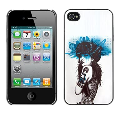 e18ee1d995b27 For Apple iPhone 4 / iPhone 4S / 4S Case , Smoking Girl Butterfly Tattoo -