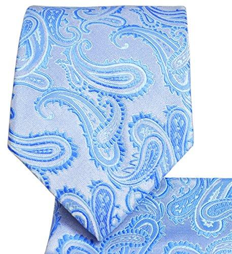 Blue Paisley (Paisley Pattern Necktie Set (Light Blue)-600-C)