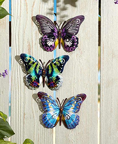 Butterfly Garden Art - The Lakeside Collection Set of 3 Butterfly Wall Plaques
