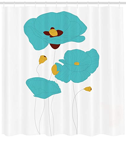 Lunarable Poppy Shower Curtain Illustration Of Flourishing Flowers Bouquet Coming The Spring Cloth