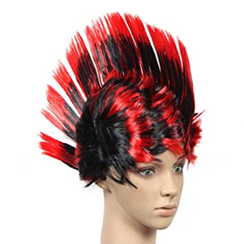 halloween costume party wigs mohawk hair punk dress up blackred - Halloween Punk Costume