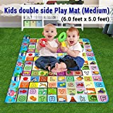 Ozoy Double Sided Water Proof Baby Mat Carpet Baby Crawl Play Mat Kids Infant Crawling Play Mat Carpet Baby Gym Water Resistant Baby Play & Crawl Mat(Medium Size - 6 Feet X 5 Feet)