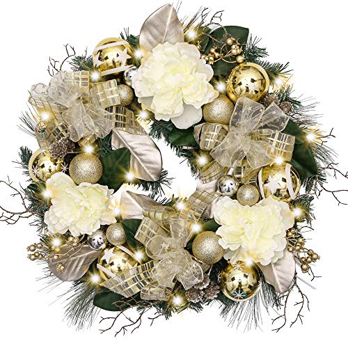 Valery Madelyn Pre-Lit 24 Inch Elegant Champagne Gold Christmas Wreath for Front Door with Shatterproof Ball Ornaments, Ribbon, Artificial Simulation Flower, Battery Operated 20 LED Lights (Wreath Gold Rose)