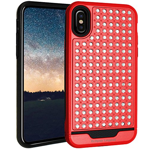 iPhone X Case, iPhone 10 Case Bling Rhinestone Hybrid Heavy Duty Dual Layer Protective Cover for Apple iPhone X and iPhone 10, Red