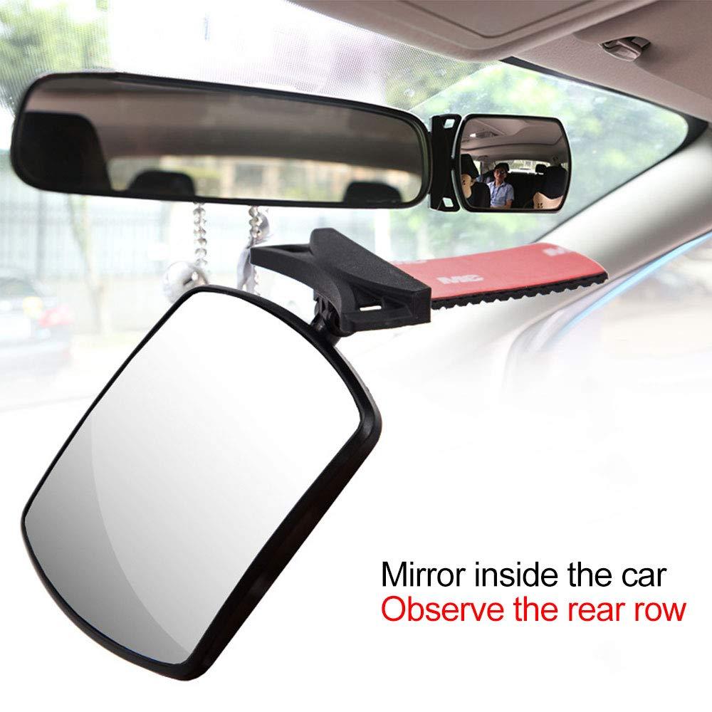 TaiRi Specchio di sicurezza per seggiolino auto per sedile posteriore specchio ausiliario per la visione posteriore completamente assemblato e regolabile in altezza per i bambini piccoli